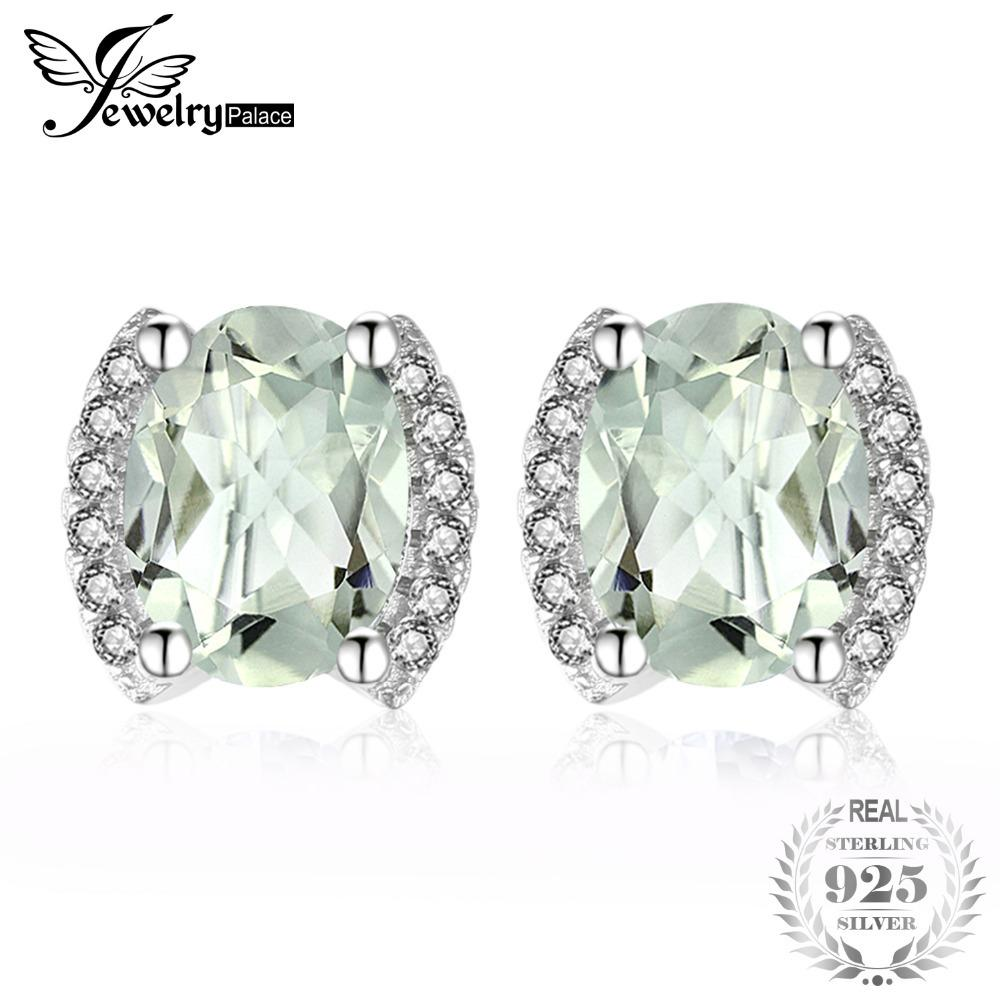 JewelryPalace Exquisite 2.45ct Oval Natural Green Amethys Stud Earrings For Women Real 925 Sterling Silver Charm Fine Jewelry Y18110110