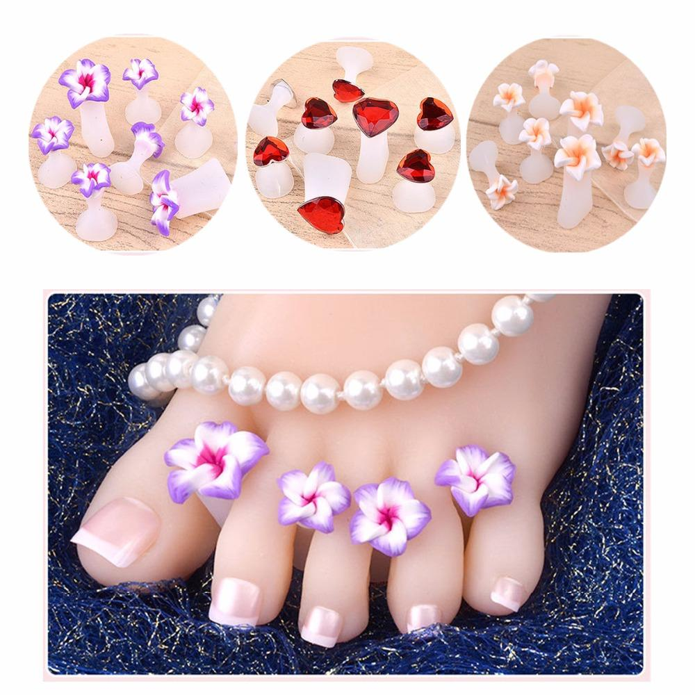 8 pçs / set Silicone Toe Separator Margarida Flor Girassol Projeto Waterdrop DIY Foots Toe Nail Art para Salão de Uso
