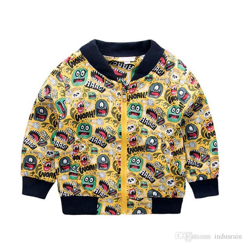 80-130cm Mode Impression Coupe-Vent Enfants Vêtements Printemps Bébé Veste Pour Garçons Automne Filles Cool Manteaux Vêtements