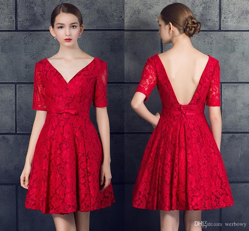 New Red Lace Deep V Neck Formal Evening Dresses Short Fashion Halter Strap Small Dress Prom Party Dresses Hy068 Evening Dresses To Hire Evening