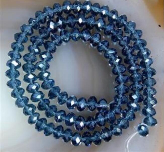 4x6mm Tinta azul Cristal Facetadas Roundel Gemas Cuentas sueltas