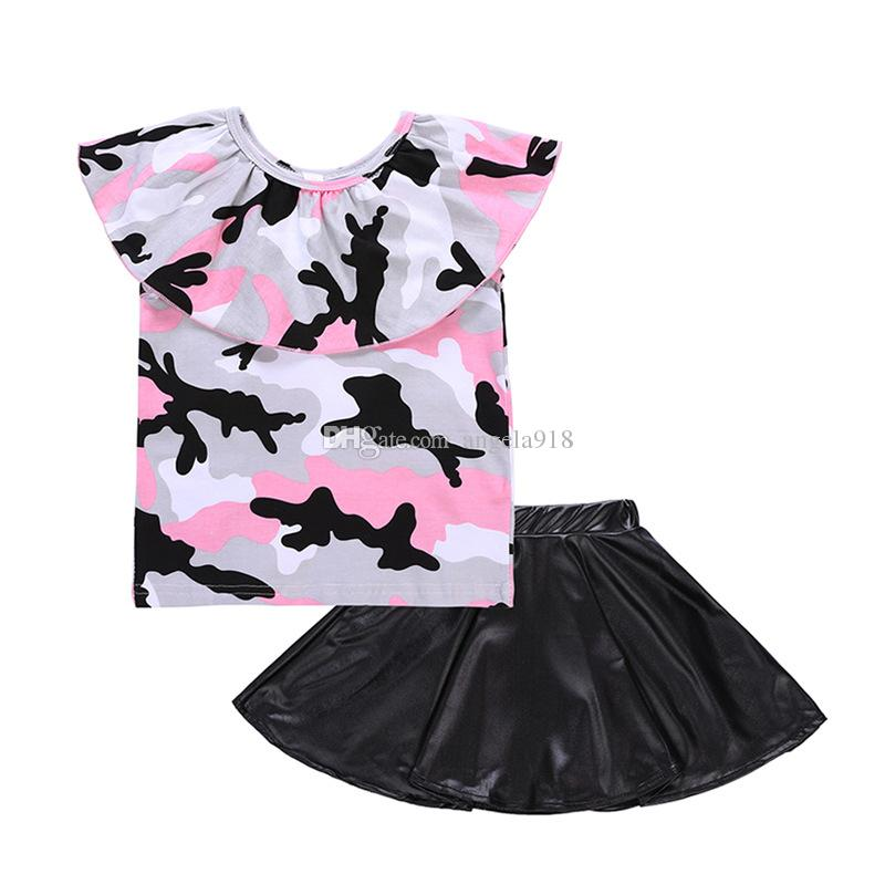 Baby girls outfits children Camouflage Off Shoulder top+PU leather skirts 2pcs/set 2018 summer suits Boutique kids Clothing Sets C4088