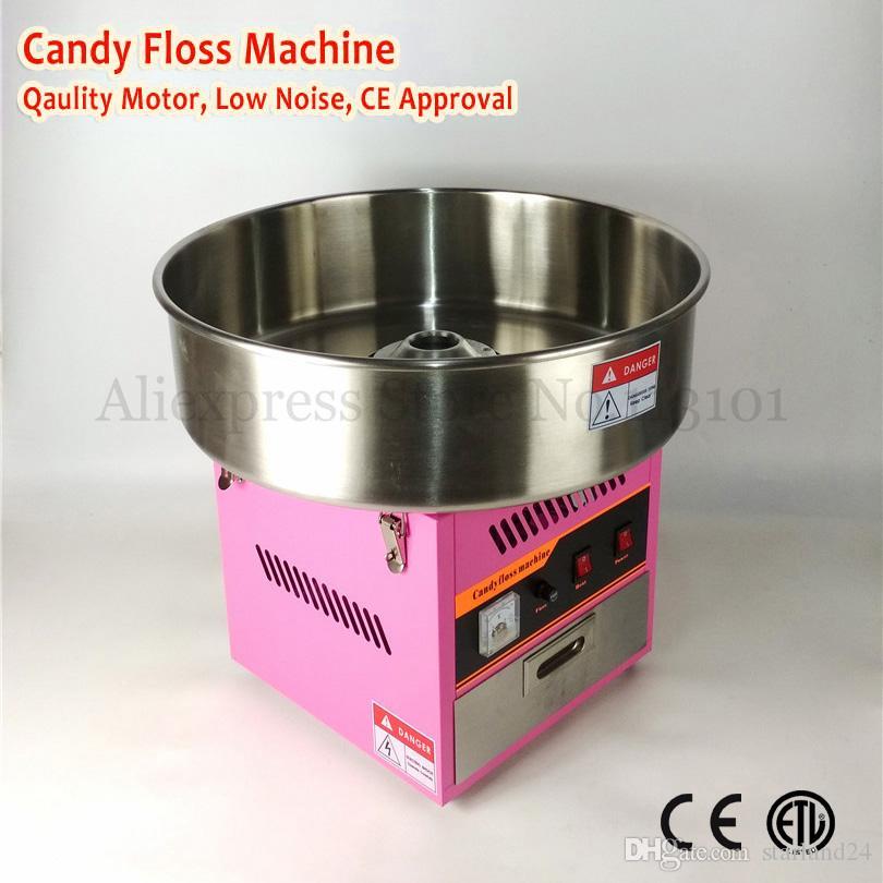 Elektrikli Ticari Pamuk Şeker Makinesi Peri Ipi Makinesi 52 cm Kase Pembe Renk 220 V Hediyeler ile 1030 W