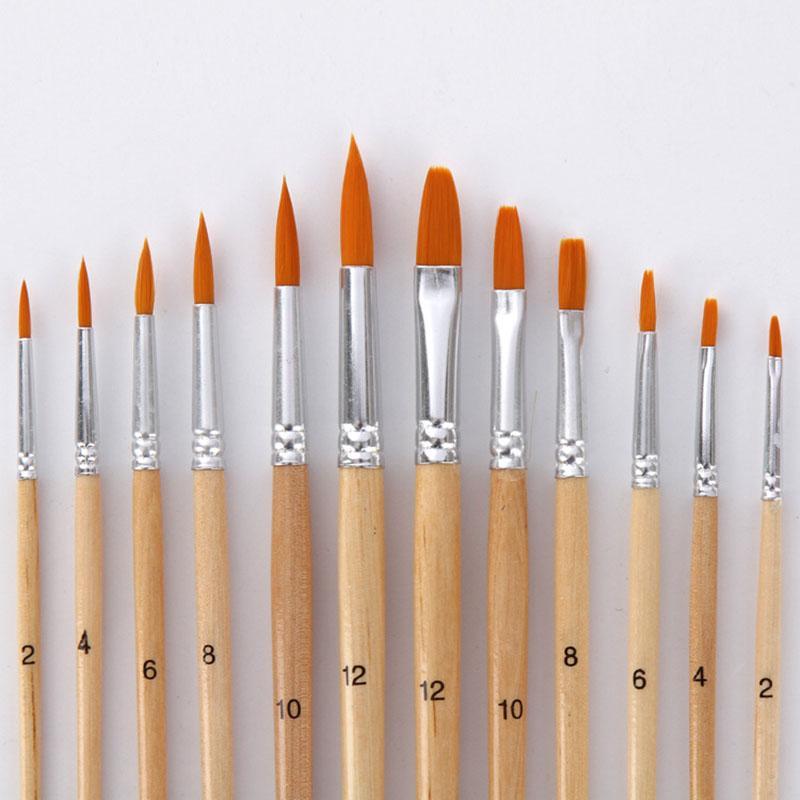 الطلاء فرشاة مختلفة الحجم سجل اللون نايلون الشعر النفط الطلاء فرش مجموعة للالوان المائية أكريليك رسم الفن 12l / set