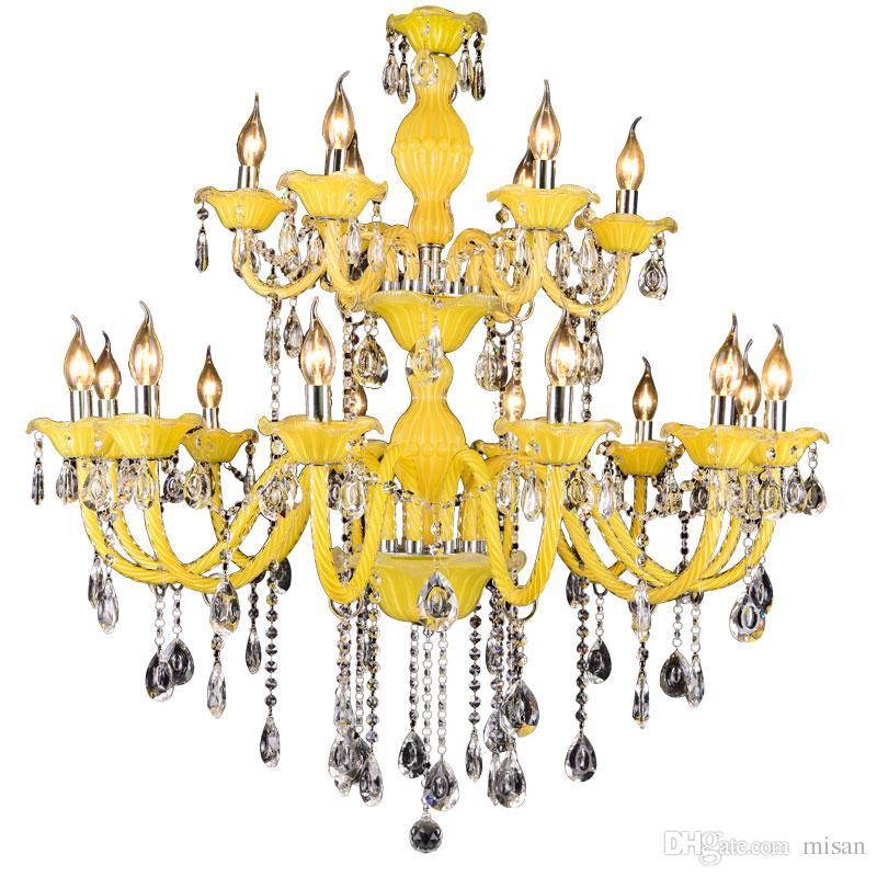 현대 크리스탈 샹 들리 레몬 옐로우 천장 샹들리에 라이트 펜던트 램프 E14 고품질 K9 크리스탈 샹들리에 호텔에 대한