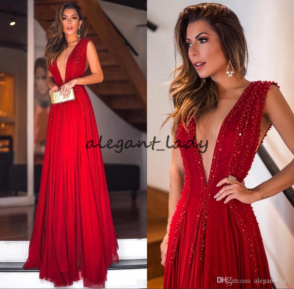 Sexy rote tiefe V-ausschnitt Chiffon-lange Abendkleider 2018 bescheidene Perlensteine bodenlangen formale Party Prom Pageant Kleider