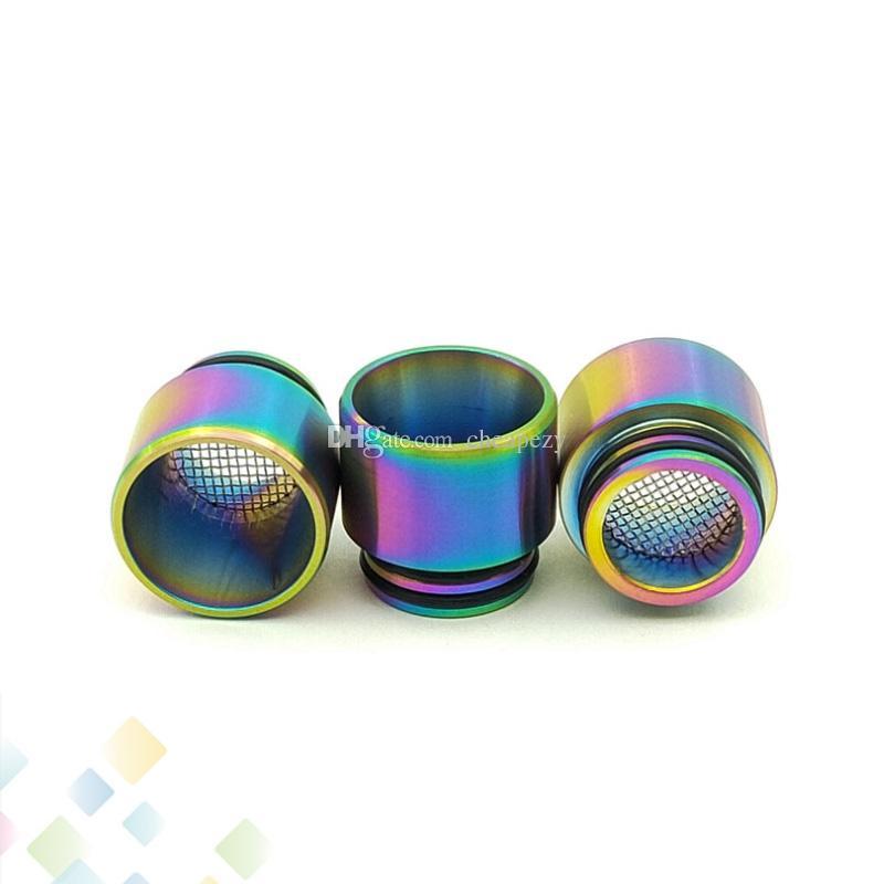 810 Anti-olio per friggere in acciaio inossidabile Drip Tip filtro a rete Mouthpeice Arcobaleno SS 2 colori per Vape TFV8 TFV12 Resa Principe E-Cig DHL