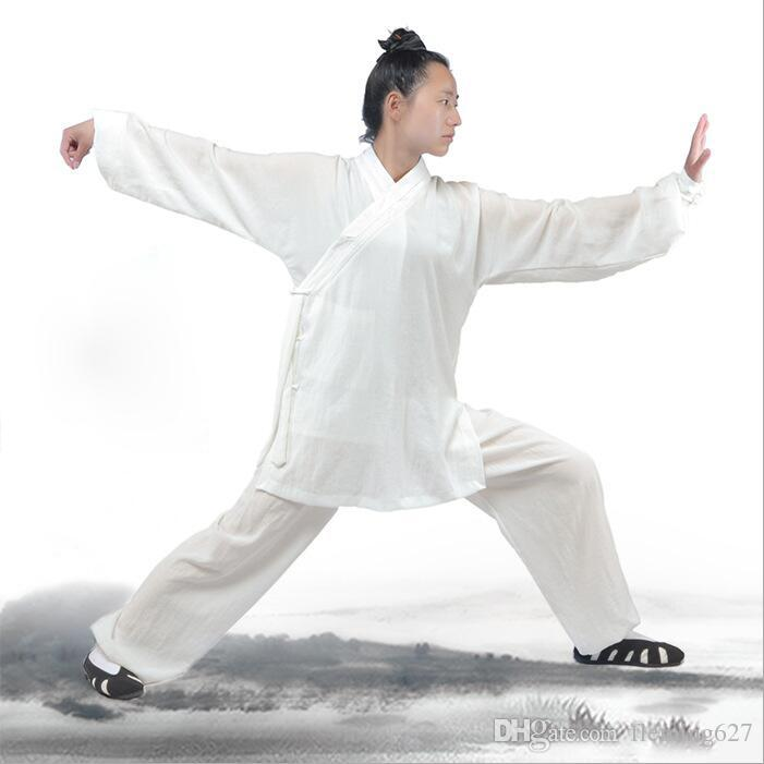 High Quality Grade Unisex Wudang Linen Tai Chi clothes morning Long Sleeve exercise clothing men's and women's martial arts Kung fu costumes