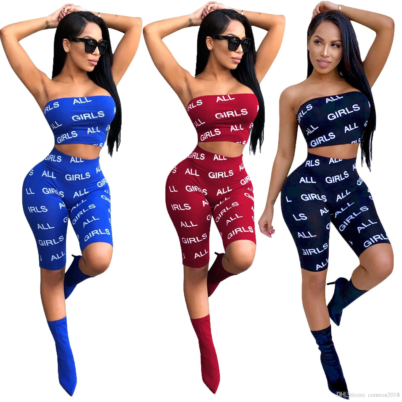 Women Summer Two Piece Set Tracksuit Strapless Wrap Chest Top + Knee Length Legging Pant 2018 Ladies Casual Outfits Sexy Club Sets