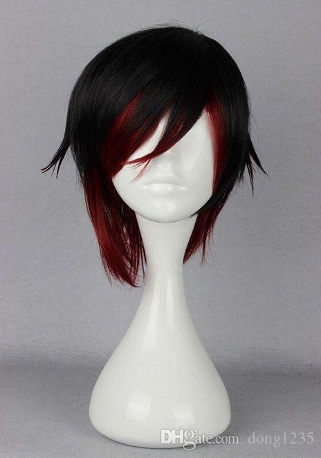 Moda corto negro y rojo RWBY Anime Show Party pelo Anime WigFree envío Nueva alta calidad Fashion Picture peluca