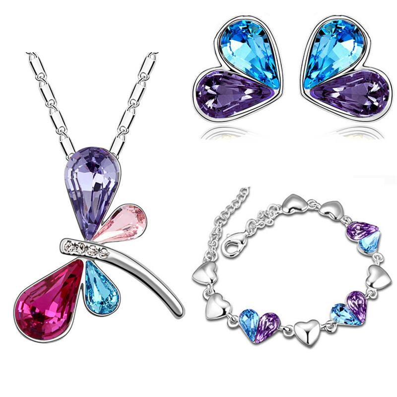 Heat Sell Crystal Jewelry Woman Two-tone Dragonfly Necklace Earrings Bracelet Suit