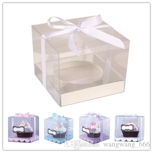 Wedidng Cupcake Box Clear PVC Transparent Cake Boxes With Base Inside Wedding Party Gift Box And Cake Packaging Sliver freeshipping 60pcs