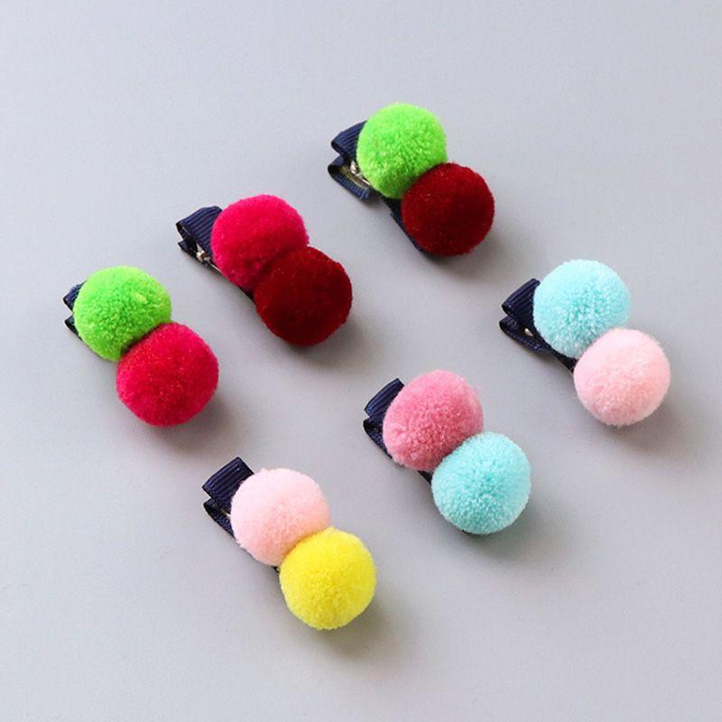 Yeni Kore Sevimli Kız Renkli Fuzz Topu Elastik Saç Bantları Çocuk At Kuyruğu Tutucu Kauçuk Bantları Çocuklar Saç Aksesuarları Kravat Sakız