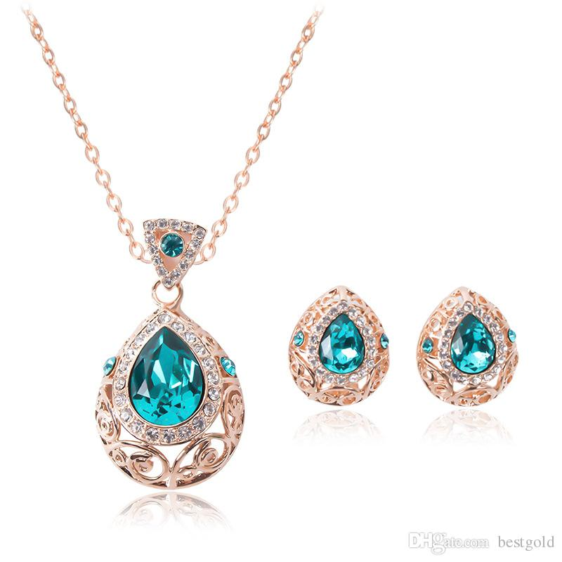 Blue Crystal Jewelry Gold Plated Necklace Set Fashion Diamond Wedding Bridal Costume Jewelry Sets Party Ruby Jewelrys(Necklace + Earrings)
