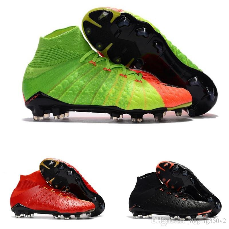 2018 Mens high ankle FG soccer cleats Hypervenom Phantom III DF soccer shoes neymar jr IC football boots cleats TF football shoes