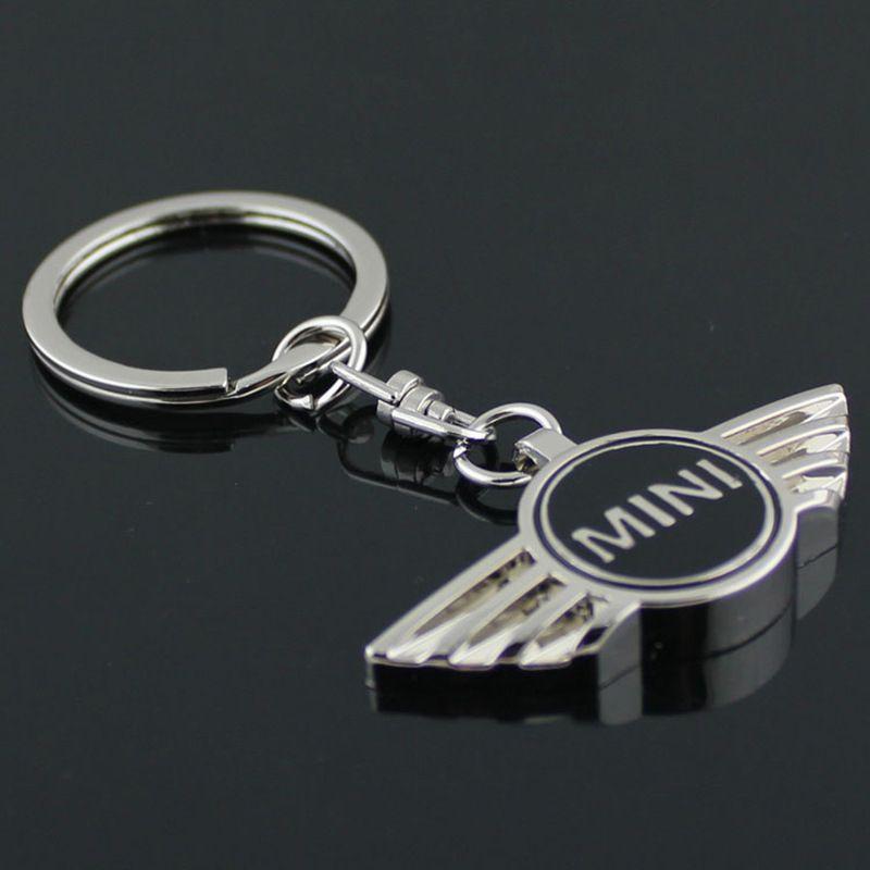 50PCS / الكثير 4 ألوان مختلطة، MINI COOPER سبيكة الرئيسية الشعارات سلسلة شارة، 3D سيارة الشعار شعار المفاتيح سيارة