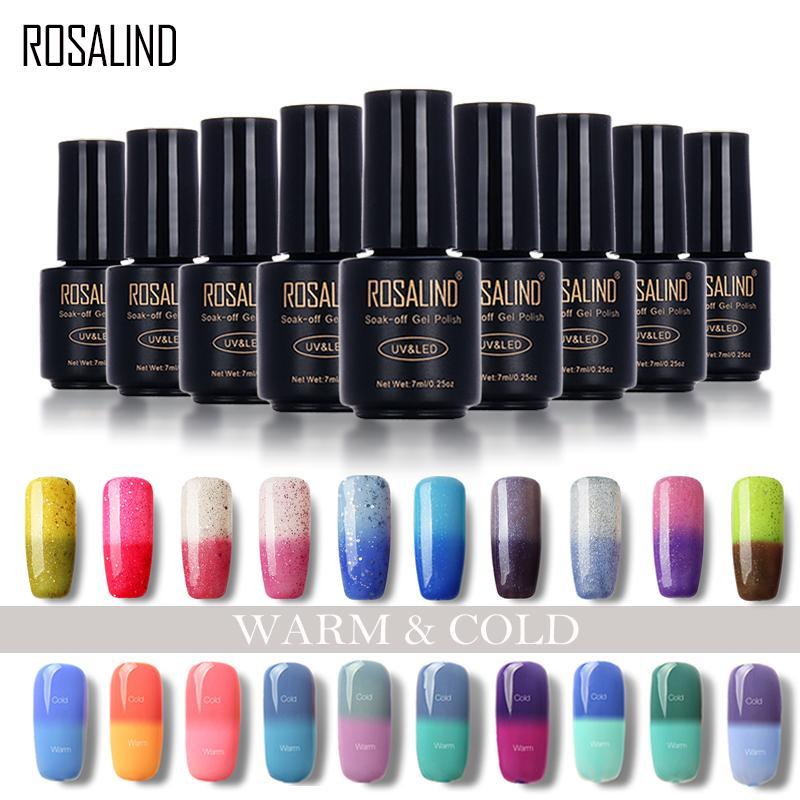 ROSALIND 7ml Changing Nails Polish Peel Off Nail Polish Uv Lamp To Dry Thermal Color Acrylic Paint Top Base Coat Need