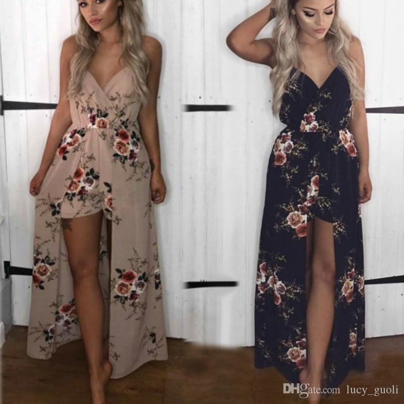 패션 여름 여성 긴 꽃 인쇄 화이트 제국 끈이 바닥 길이 드레스 보헤미안 스타일 여성 맥시 댄스 파티 파티 쉬폰 드레스