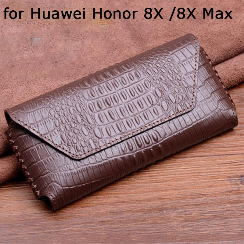 Чехол для Huawei Honor 8X чехол Крокодил печати натуральная кожа телефон случаях Honor 8X Макс закаленное стекло протектор экрана