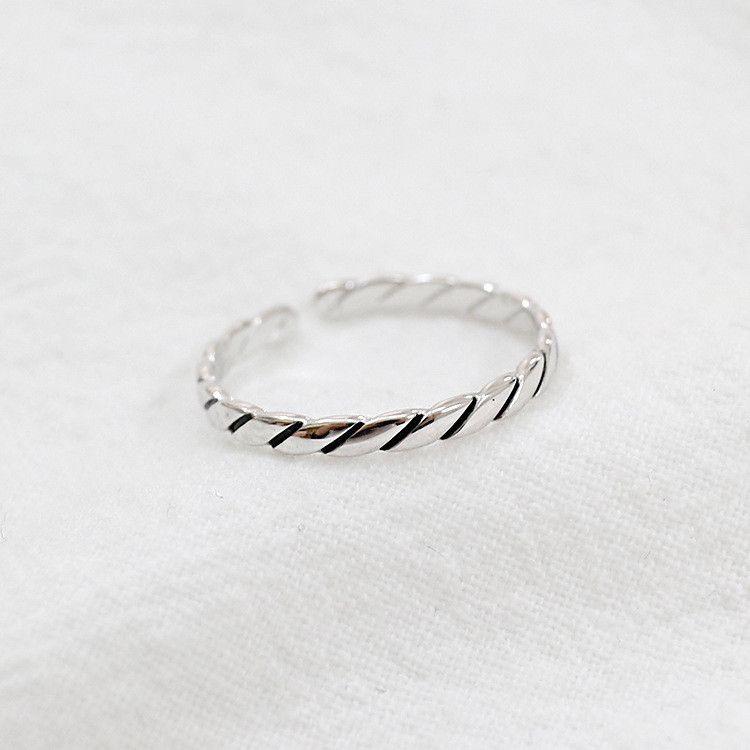 Réel 925 Sterling Silver Anneaux Réglables Pour Femmes Vintage Simple Twill Ouverture Anneau D'anniversaire Cadeaux YMR085