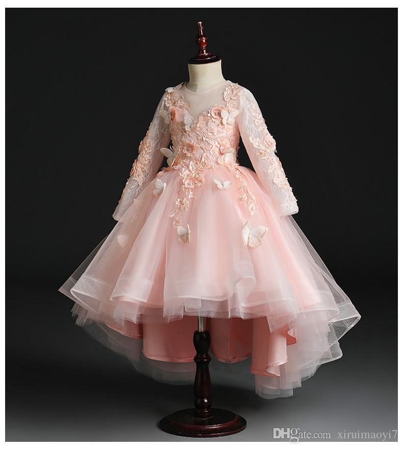 Длинные рукава бисером Аппликация Кружева Цветочница платье для свадьбы День рождения принцессы бальное платье для Формальное первого причастия платье