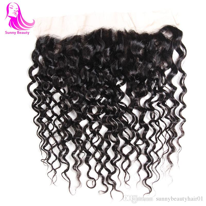 Sunny 13X4 Deep Curly Pre Pluck Ear To Ear Mailaysian Brizilian Purvian Bodywave Lace Frontal Bleached Knots Human Hair Natural Black 10inch