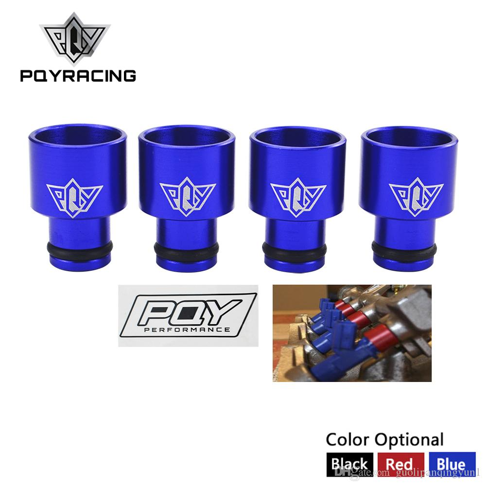 PQY RACING - 4pcs Racing PQY Fuel Injector Top Hats Adapters RDX Injectors to B16 B18 D16Z D16Y WITH PQY STICKER PQY-FIA01