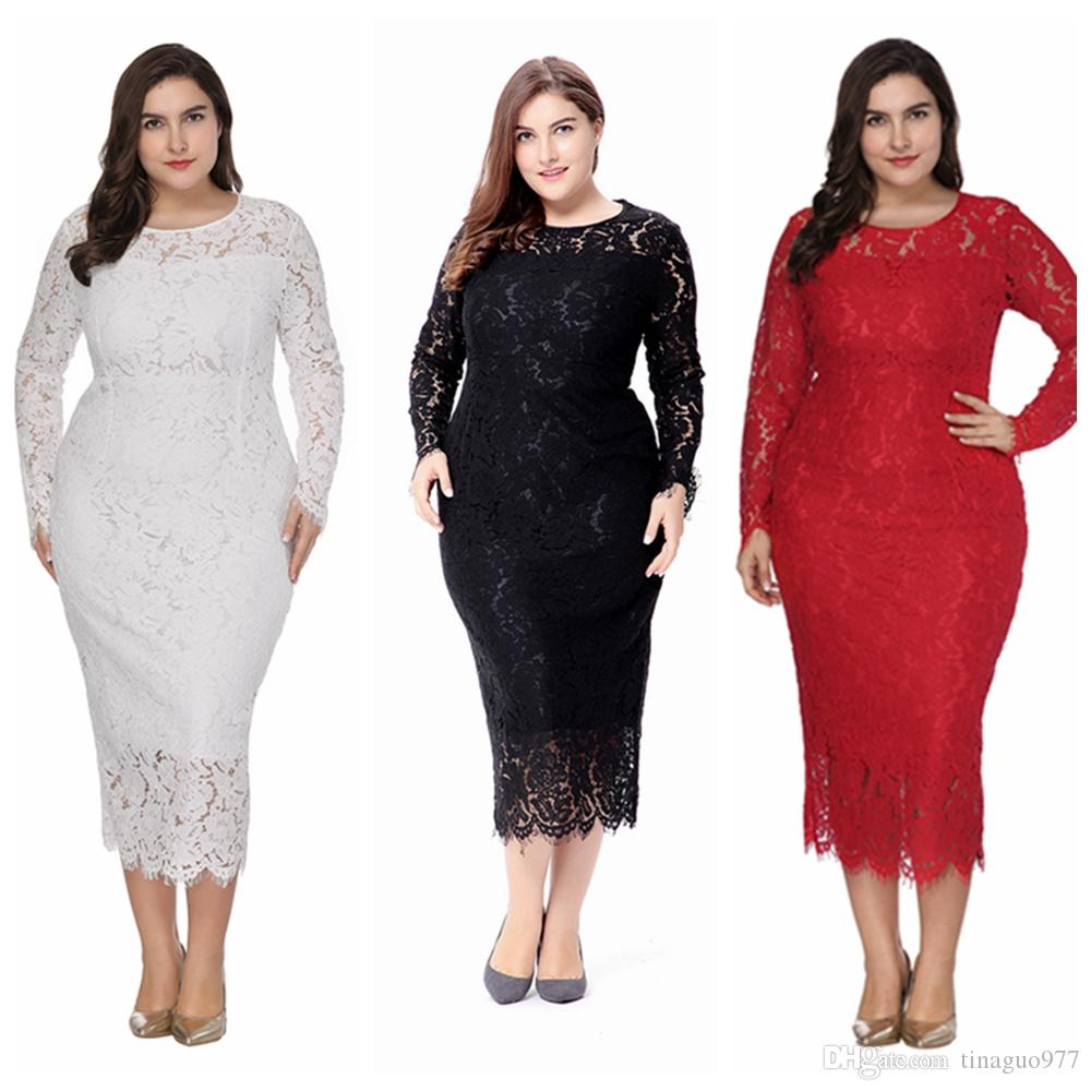 2019 Plus Size Women Clothing Long Sleeve Lace Bodycon Party Midi Dresses  For Large Size White Black Red XL 6XL From Tinaguo977, $24.64 | DHgate.Com