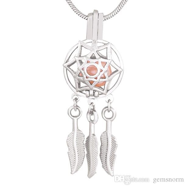 Indian Style Silver Dream Catcher Cage Pendants Dreamcatcher Beads Pearl Cage Pendant Essential Locket For Necklace 5pcs CP019