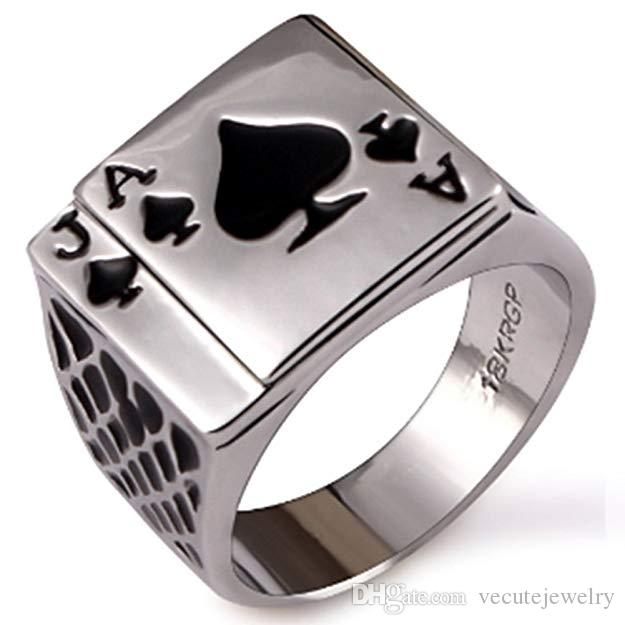 18K White Gold Plated Cool Black Enamel Poker Ring for Men Nice Gift Jewelry Rings for Boyfriend Fasion Accessory Size 7,8,9,10,11,12