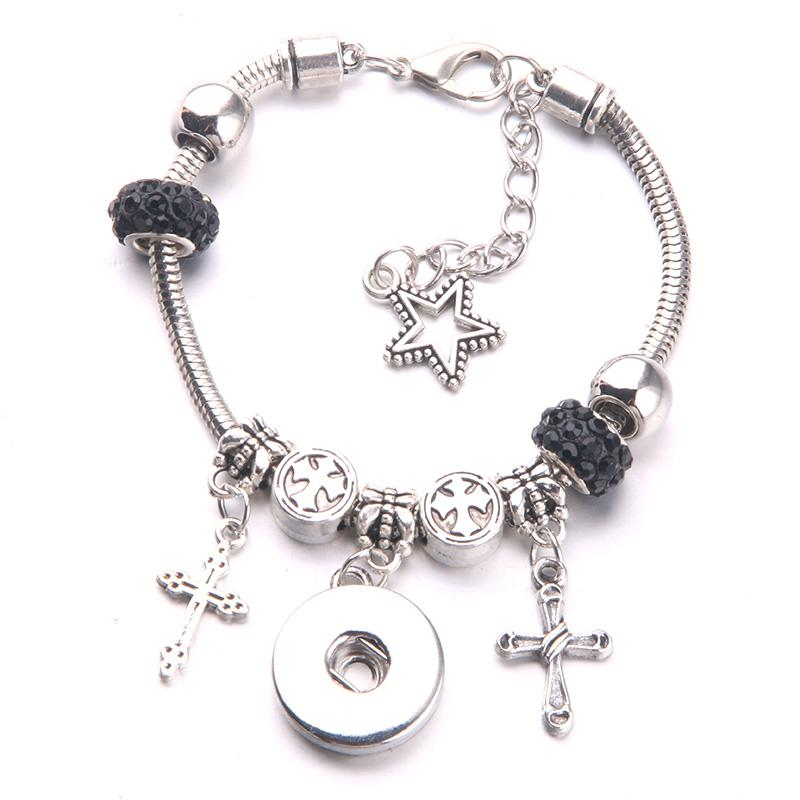 2018 New DIY Bracelet Silver Cross Pentagram and Water Wafer Beads Chain beads Bangles Fit 18mm Snap button Jewelry A50-1