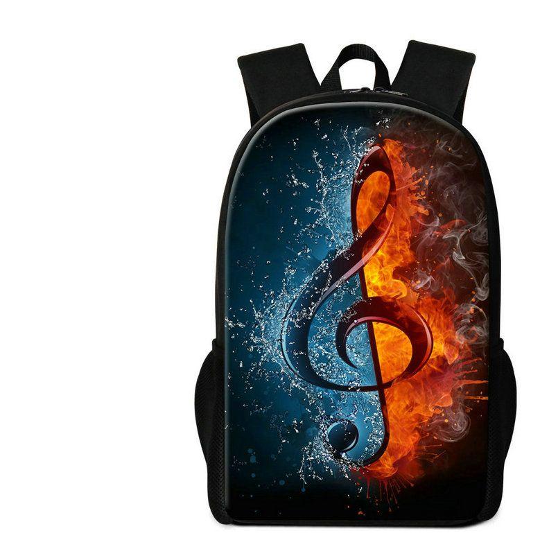 Music Note Printing Women Shoulder Bags 16 Inch Children Backpack Lightweight School Bag For Teen Girls Primary Students Rugtas Mochila Pack