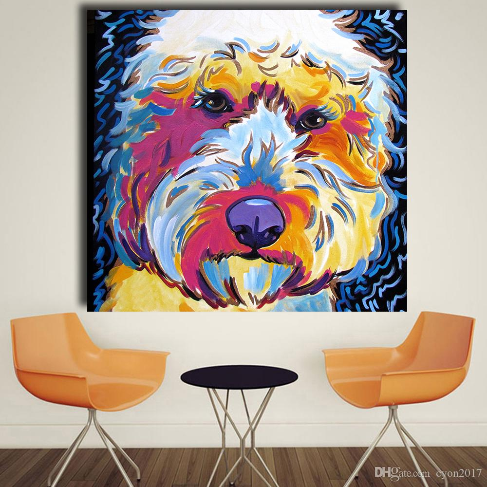 Animal Golden doodle Dog Pop Art Portrait Oil Painting Wall Painting on Canvas Art Prints for Living Room Home Decor