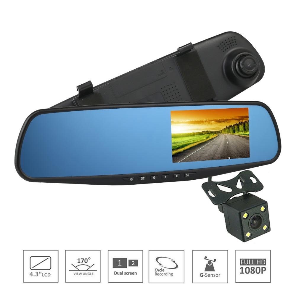 "4.3/"" 1080P HD Dual Lens Car DVR Dash Cam Rearview Mirror Camera Video Recorder"