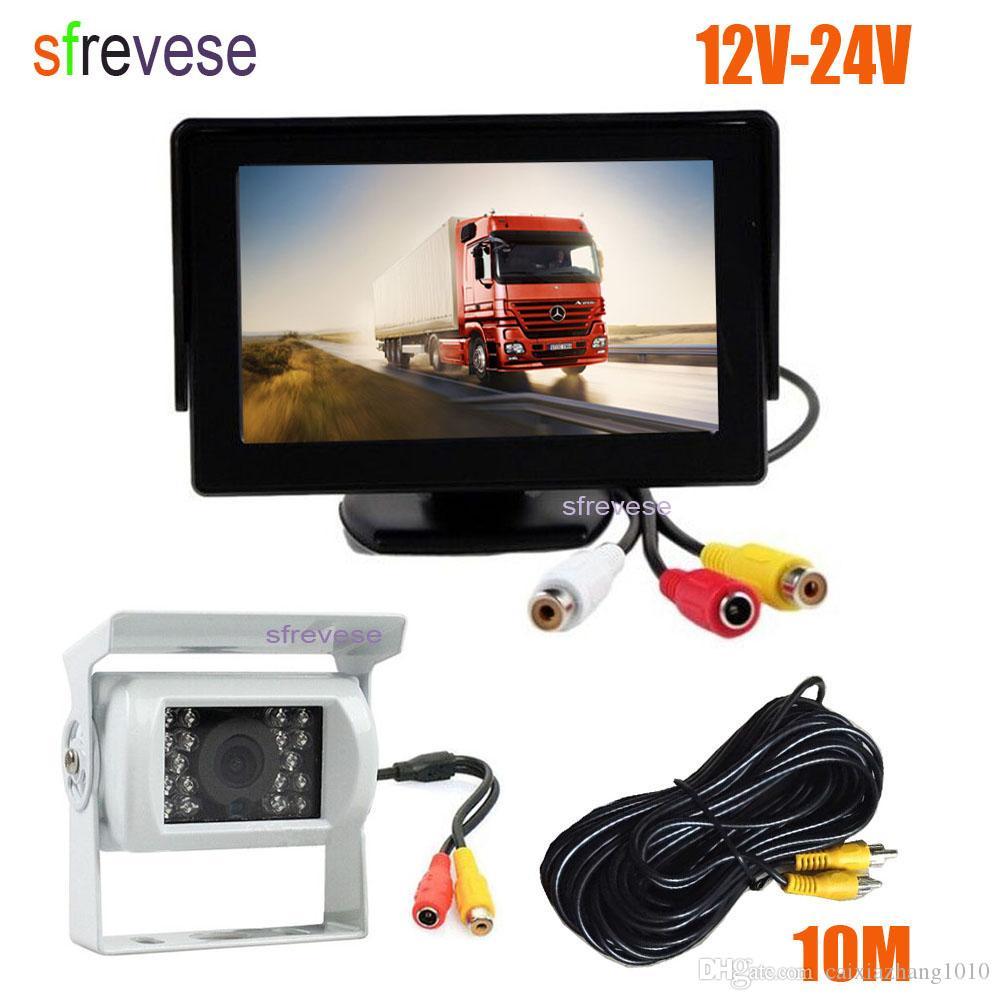 "4.3"" Car LCD Monitor + White Waterproof 18 LED IR Night Vision Reverse Parking Backup Camera Rear View Kit 10M cable 12V-24V"