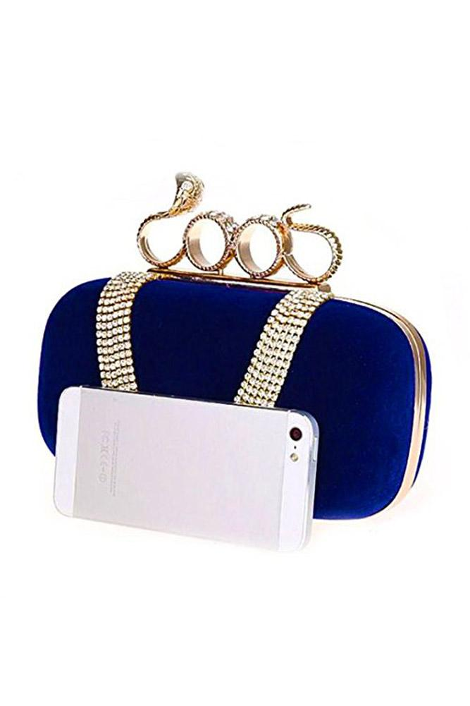 SNNY NEW Women's Elegant Evening Bag Ladies' Handbag Clutch Bag for wedding and evening dresses (Snake Dark Blue)