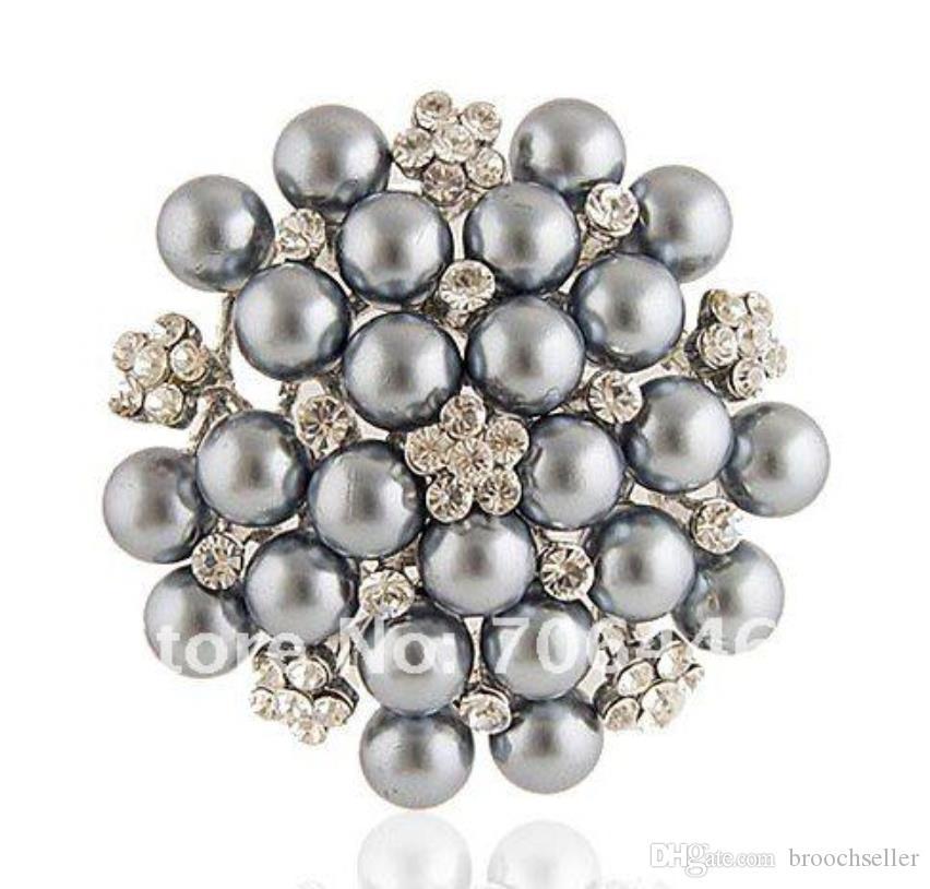 Tom de prata prata cinza pérola do falso e strass cristal grande broche de noiva