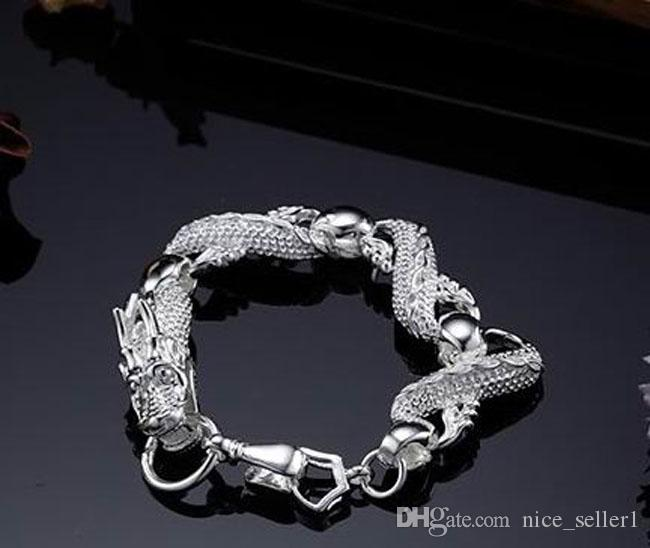 Fine 925 Sterling Silver Bracelet for Women Men,Fashion 2020 925 Silver Dragon Chain 8inch Bracelet Italy New Arrival Xmas Best Gfit AH036