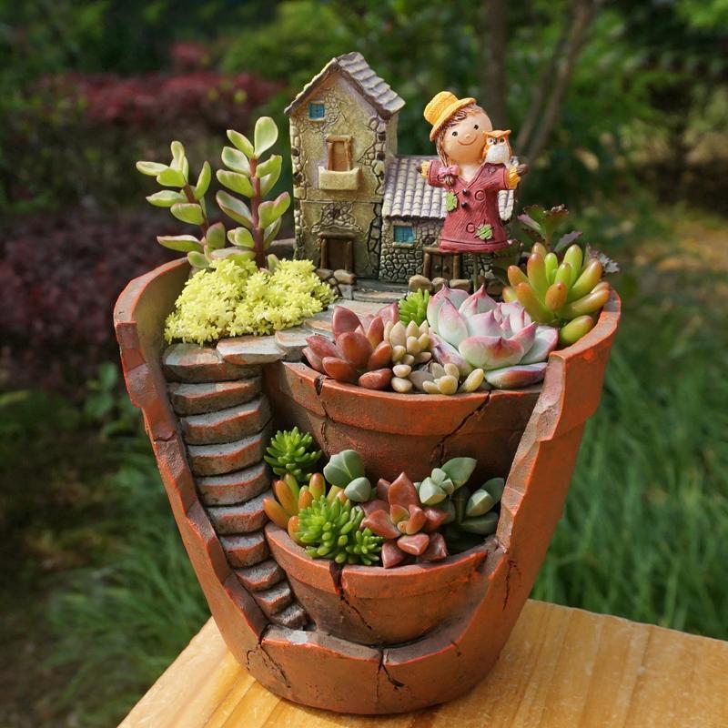 1pc Creative Resin Decorative Succulent Plant Pot for Fairy Garden Desktop Flower Pot Home Garden Decoration free shipping