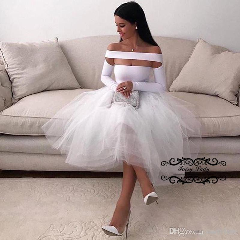 2018 White Little Short Beach Wedding Dresses With Long Sleeves Off Shoulder Puffy A Line Bridal Dress Formal Gown Robe De Mariee