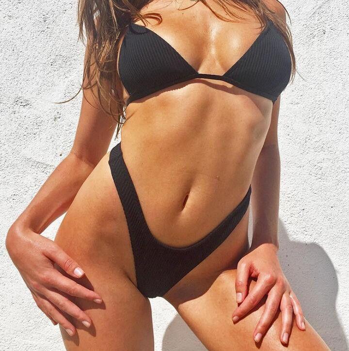 d8326b7c34cc Compre Chicas Brasileñas Trajes De Baño Bikini Copa Pequeña + Estilo De  Corte Alto Playa Biquini Sólidos Trajes De Baño Micro Tanga Bikinis W122 A  ...