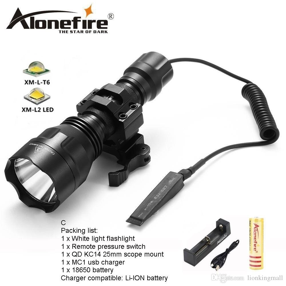 AloneFire C8s CREE XM-L2 LED 5 Mode Tactical flashlight High Quality Lanterna LED Torch light hunting Flash light for 1x 18650 battery
