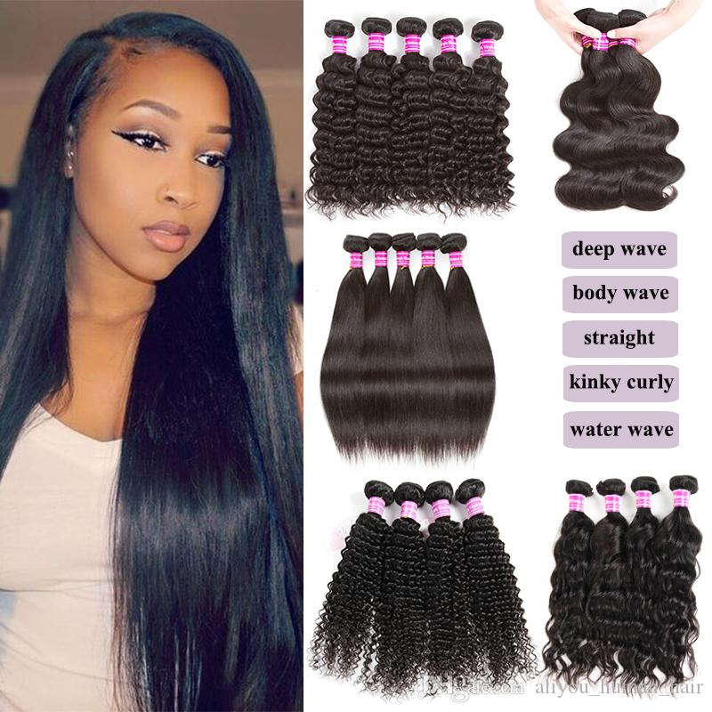 Sample Hair 8A Unprocessed Virgin Brazilian Hair Peruvian Body Straight Deep Water Curly Human Hair Weaves Bundles 1 Or 5 pieces 10-40inches