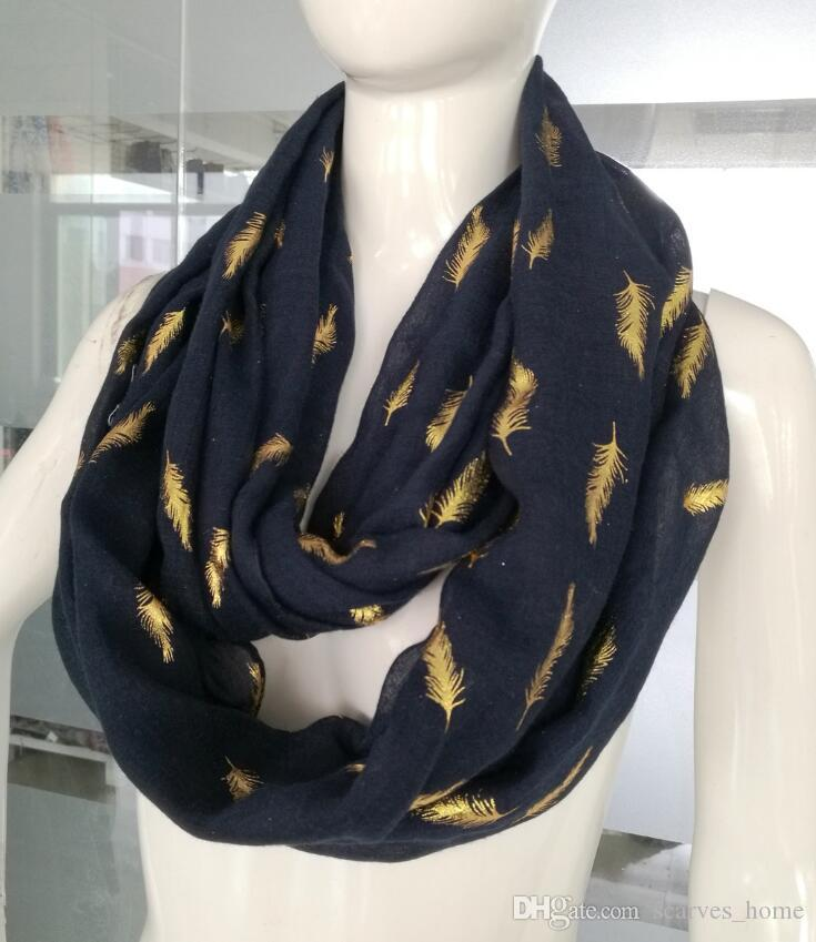 Metallic Gold Feather Print Women's Infinity Loop Scarf Snood Soft Lightweight ring scarf for women Pink Navy white Scarves wholesale