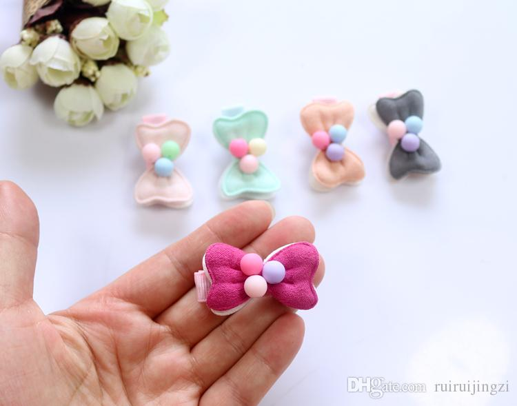 50pcs/lot Pet Cats Grooming Accessories Clips handmade pet dog cat Hair bow Hairpin Candy Color Bow Manual Fabric