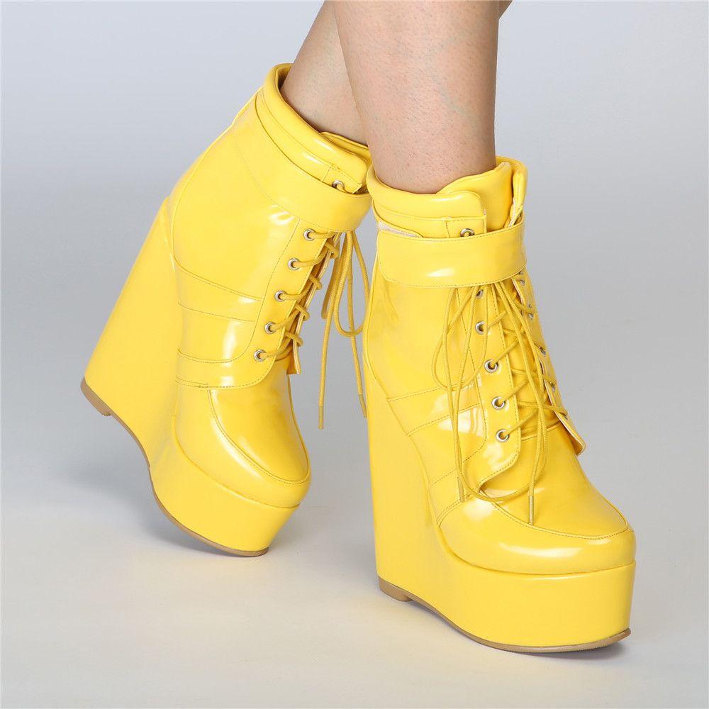 Legzen Супер Красивые Ботильоны Клинья Круглый Носок Модные Сапоги Стильные Желтые Ботинки Женщина Плюс Размер США 4-15