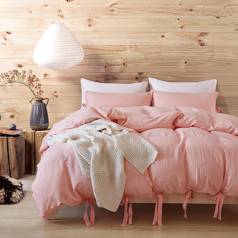 단색 3 피스 워셔블 코튼 넥타이 가정용 섬유 침구 심플 유럽 스타일의 핑크 대형 부드러운 이불 커버 세트