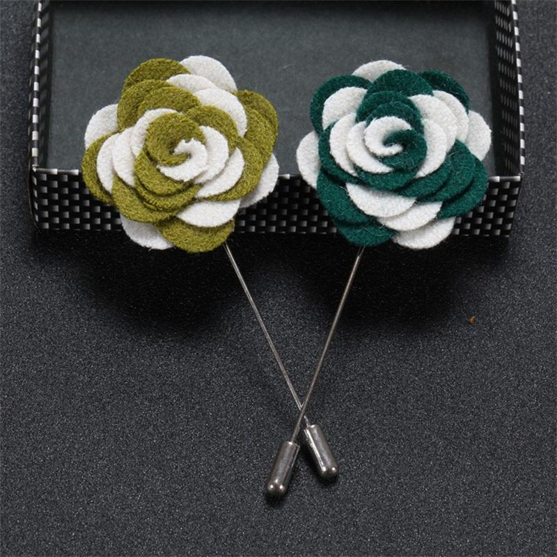 wholesale Flower Lapel Pin Handmade Fabric Brooch Bouquet Gentlemen Lapel Pins Fashion Mens Brooches 100PCS/Lot
