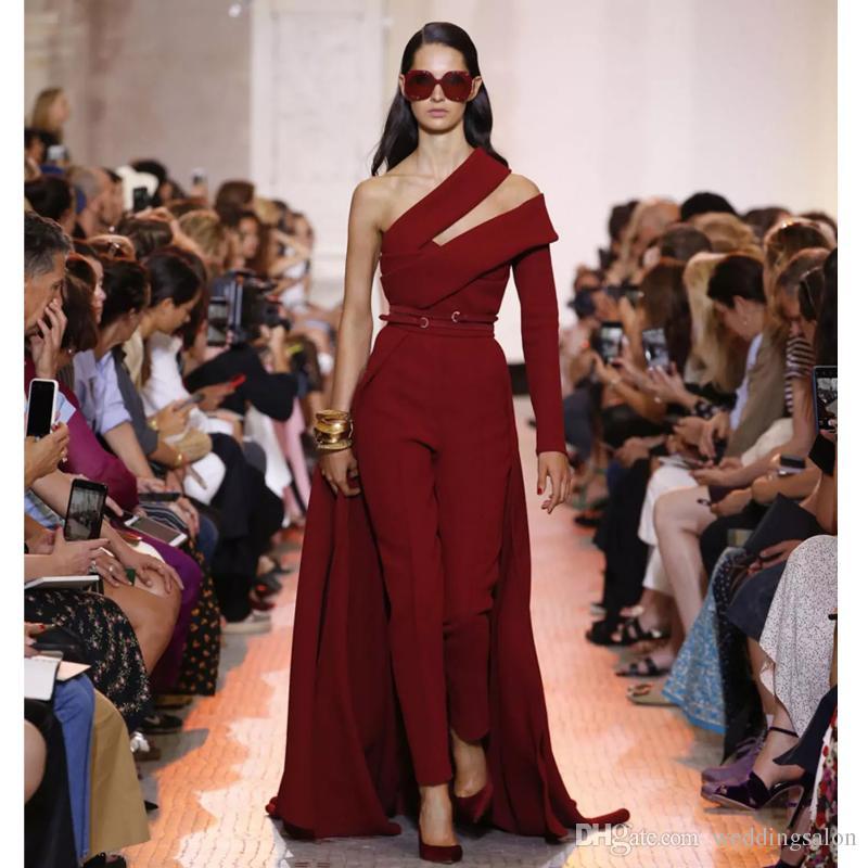 2019 Elie Saab Женский комбинезон с длинным шлейфом на одно плечо с длинным рукавом с атласным вырезом Вечернее платье Красные вечерние платья
