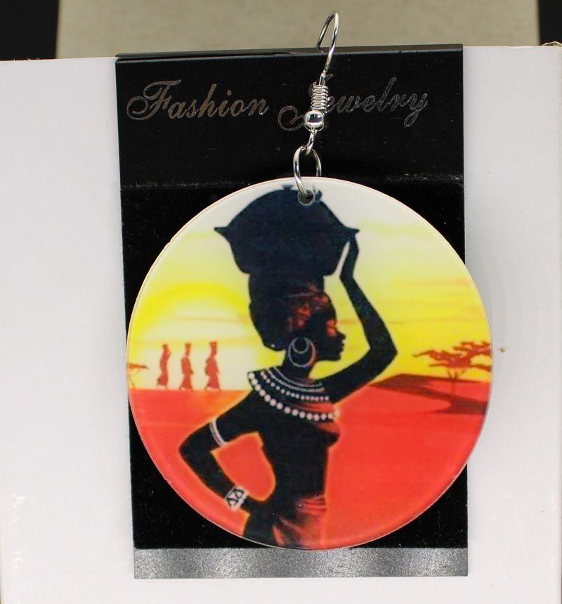 Африканский племенной Королева двухсторонний серьги пользовательские афро Африки серьги подвески пользовательские логотип текст изображения